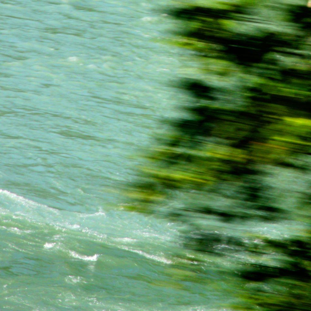 Seewasser über dem ein verwischter Baum zu sehen ist